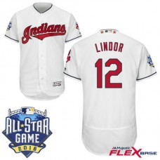 Cleveland Indians #12 Francisco Lindor White 2016 All-Star Game Patch Flex Base Jersey