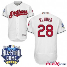 Cleveland Indians #28 Corey Kluber White 2016 All-Star Game Patch Flex Base Jersey