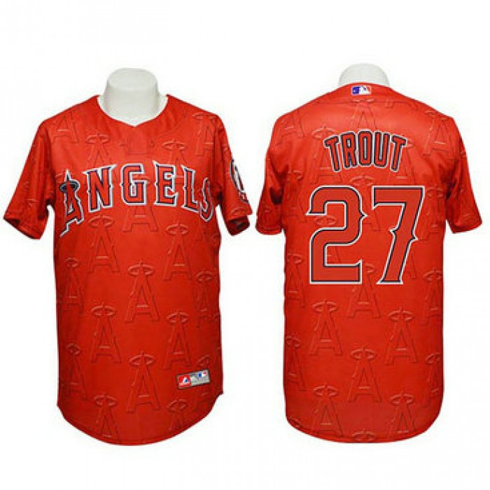 Angels #27 Mike Trout Authentic 3D Fashion Red Jersey