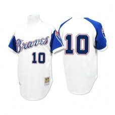 Atlanta Braves #10 Chipper Jones 1974 Throwback White Authentic Jersey
