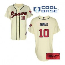 Atlanta Braves #10 Chipper Jones Alternate Cool Base Autographed Cream Authentic Jersey