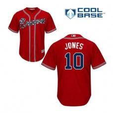 Atlanta Braves #10 Chipper Jones Alternate Cool Base Red Authentic Jersey
