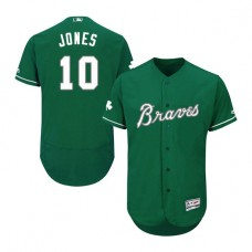 Atlanta Braves #10 Chipper Jones Celtic Flexbase Collection Green Authentic Jersey