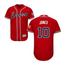 Atlanta Braves #10 Chipper Jones Flexbase Collection Red Authentic Jersey