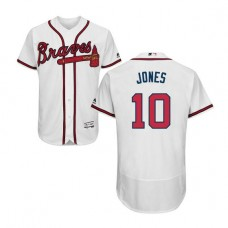 Atlanta Braves #10 Chipper Jones Flexbase Collection White Authentic Jersey