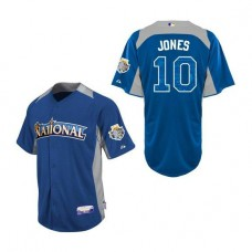 Atlanta Braves #10 Chipper Jones National League 2012 All-Star BP Blue Authentic Jersey