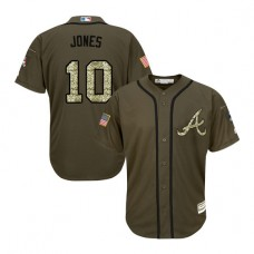 Atlanta Braves #10 Chipper Jones Salute to Service Green Authentic Jersey