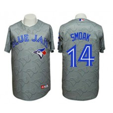 Jays #14 Justin Smoak 3D Watermark Edition Grey Jersey