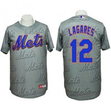 New York Mets #12 Juan Lagares Authentic 3D Fashion Grey Jersey