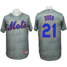New York Mets #21 Lucas Duda Authentic 3D Fashion Grey Jersey