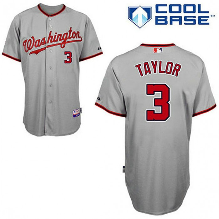 Washington Nationals #3 Michael Taylor Grey Road Authentic Cool Base Jersey