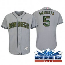 San Diego Padres Alexi Amarista #5 Grey Camo Fashion 2016 Memorial Day Cool Base Jersey