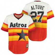 Houston Astros #27 Jose Altuve Orange Cool Base Cooperstown Vintage Jersey