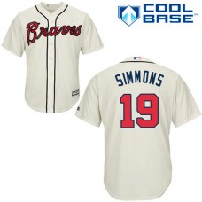 YOUTH Atlanta Braves #19 Andrelton SimmonsAuthentic Cream Alternate Cool Base Jersey