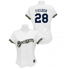 Women - Milwaukee Brewers #28 Prince Fielder White Fashion Jersey