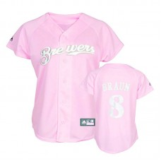 Women - Milwaukee Brewers #8 Ryan Braun Pink Lady Fashion Jersey