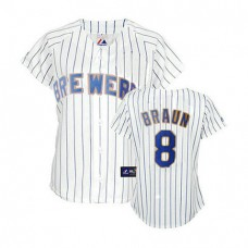 Women - Milwaukee Brewers #8 Ryan Braun White Blue StripFashion Jersey