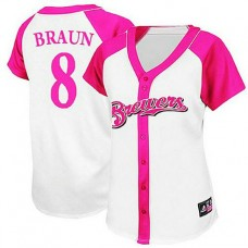 Women - Milwaukee Brewers #8 Ryan Braun White/Pink Splash Fashion Jersey
