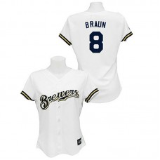 Women - Milwaukee Brewers #8 Ryan Braun White Fashion Jersey