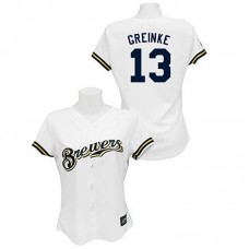 Women - Milwaukee Brewers #13 Zack Greinke White Fashion Jersey