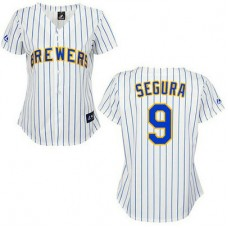 Women - Milwaukee Brewers #9 Jean SeguraAuthentic White Pinstripe Jersey