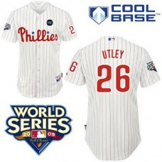 Philadelphia Phillies #26 Chase Utley White ManCool Base with 2009 World Series HK Patch Jersey