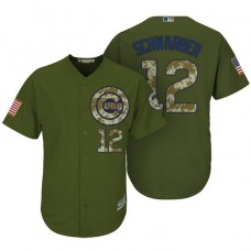 Chicago Cubs #12 Kyle Schwarber Camo Olive Salute Cool Base Jersey