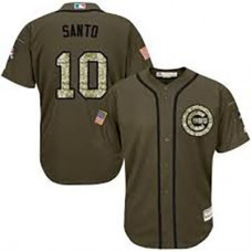Chicago Cubs #10 Ron Santo Olive Camo Jersey