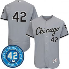 Chicago White Sox #42 Jackie Robinson Grey Authentic Collection Flexbase Jersey
