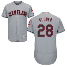 Cleveland Indians Corey Kluber #28 Road Grey Authentic Collection Flex Base Jersey