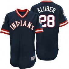 Cleveland Indians Corey Kluber #28 Navy Authentic Turn Back the Clock Jersey