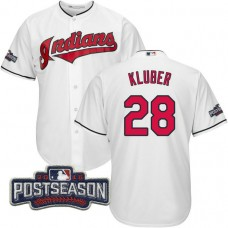 Cleveland Indians Corey Kluber #28 AL Central Division Champions White 2016 Postseason Patch Cool Base Jersey