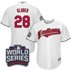 Cleveland Indians Corey Kluber #28 White 2016 World Series Bound Cool Base Jersey