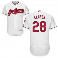 Cleveland Indians Corey Kluber #28 Home White Authentic Collection Flex Base Jersey