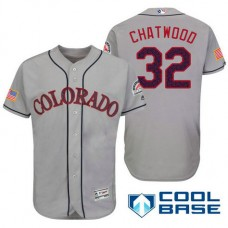 Colorado Rockies #32 Tyler Chatwood Grey Stars & Stripes 2016 Independence Day Cool Base Jersey