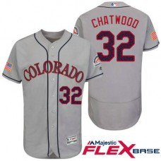 Colorado Rockies #32 Tyler Chatwood Grey Stars & Stripes 2016 Independence Day Flex Base Jersey
