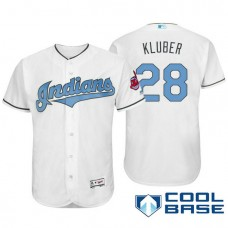 Cleveland Indians #28 Corey Kluber White Fashion 2016 Father's Day Cool Base Jersey
