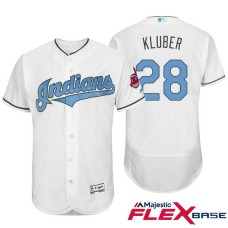 Cleveland Indians #28 Corey Kluber White Fashion 2016 Father's Day Flex Base Jersey