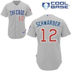 Chicago Cubs #12 Kyle Schwarber Grey Authentic Cool Base Away Jersey