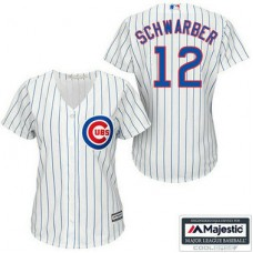 Chicago Cubs #12 Kyle Schwarber White Cool Base Home Jersey