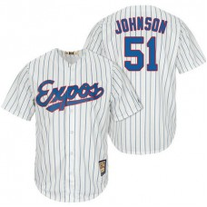Montreal Expos #51 Randy Johnson White/Royal Cooperstown Player Cool Base Jersey