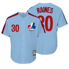 Montreal Expos #30 Tim Raines Blue Cooperstown Player Cool Base Jersey