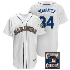Felix Hernandez #34 Seattle Mariners White Throwback Griffey Retirement Patch Jersey
