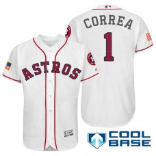 Houston Astros #1 Carlos Correa White Stars & Stripes 2016 Independence Day Cool Base Jersey