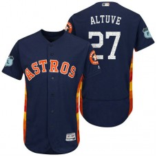 Houston Astros Jose Altuve #27 Navy 2017 Spring Training Grapefruit League Patch Authentic Collection Flex Base Jersey