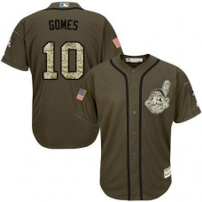 Cleveland Indians #10 Yan Gomes Olive Camo Jersey