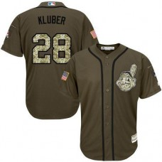 Cleveland Indians #28 Corey Kluber Olive Camo Jersey