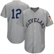 Cleveland Indians #12 Francisco Lindor Grey 1917 Throwback Turn Back the Clock Authentic Player Jersey