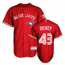 Toronto Blue Jays #43 R.A. Dickey Authentic Red 2013 Canada DayJersey