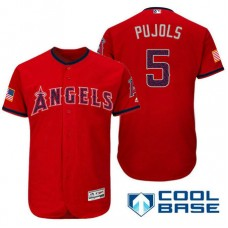 Los Angeles Angels #5 Albert Pujols Red Stars & Stripes 2016 Independence Day Cool Base Jersey
